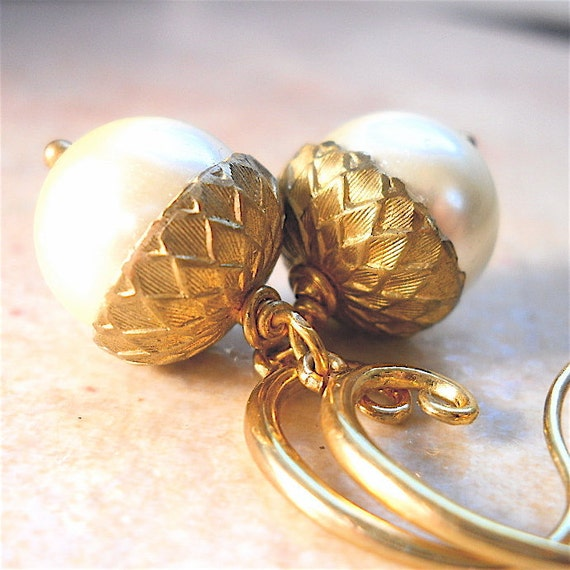 "Ivory Pearl Acorn Earrings with Gold Vermeil ""Caps"", Also Avail.  with Bronze Pearls"