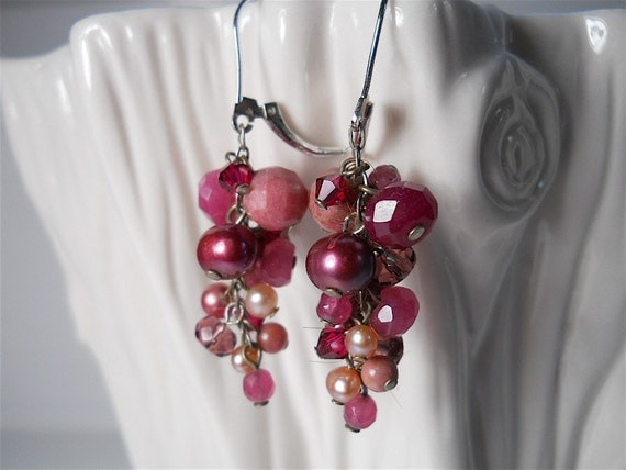 Ruby Earrings in Bundled Tones of Pink, Red and Purple Gemstones, Womens Natural Fashion