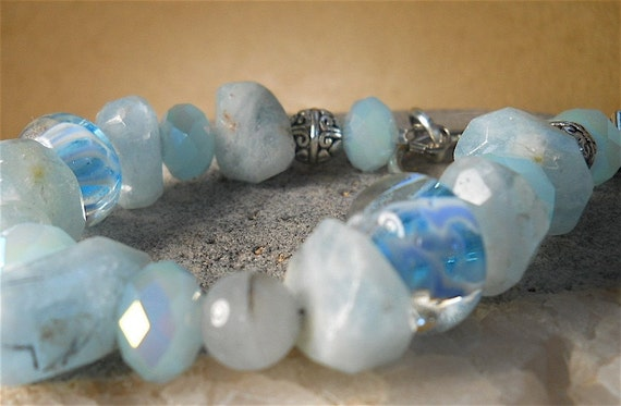 Bracelet of Peruvian Blue Opal and Pastel Blue Boro Beads