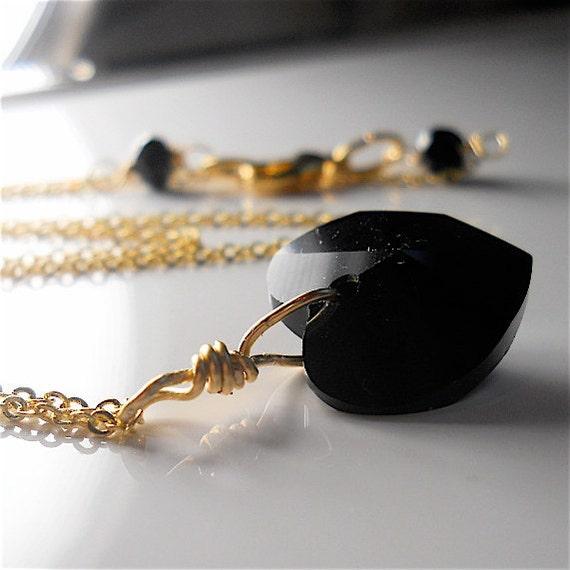 Swarovski Crystal Black Heart Necklace,  Elegant Necklace on Golden Chain, Twilight,  Halloween Fashion,