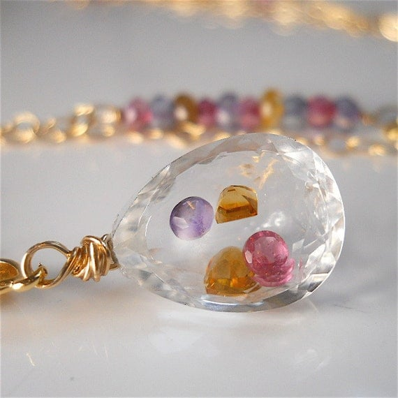 Gemstone Filled Crystal with Amethyst, Citrine, Pink Sapphire, Gold Filled, Unique Womens Fashion Birthstone Jewelry Gift