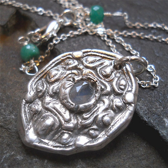 Recycled Silver Baroque Pendant Necklace with Moonstone and Genuine Emerald Accents. Womens Eco Friendly Fashion