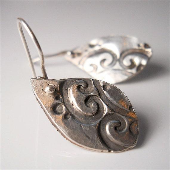 Handmade Sterling Silver Lotus Petal Earrings, Modern Tribal . Reversible . Yoga Jewelry Jewellery Your Daily  Jewels