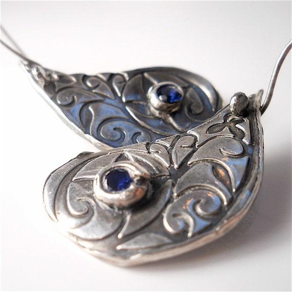Handmade Recycled Sterling Sapphire Lotus Petal Earrings .  Reversible Earrings .  Yoga Jewelry. Jewellery  yourdailyjewels