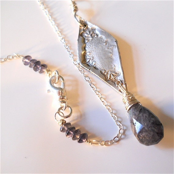 Eco Friendly Antique Style Silver Gemstone Necklace  Wire Wrapped Denim Blue Spectrolite, A  Modern Heirloom Elegant Fashion Statement