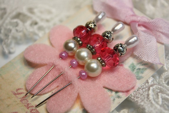 3 Shabby Chic Bead Stick Pins - Pink Scrapbooking Cards Altered Art Vintage Inspired
