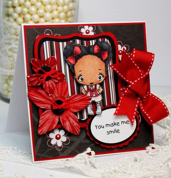 Handmade Card - Greeting Card - You Make Me Smile - the Greeting Farm OOAK