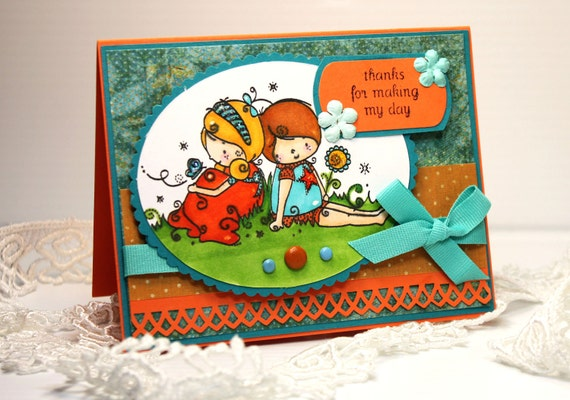 Handmade Card - Greeting Card - Thanks for Making My Day - OOAK