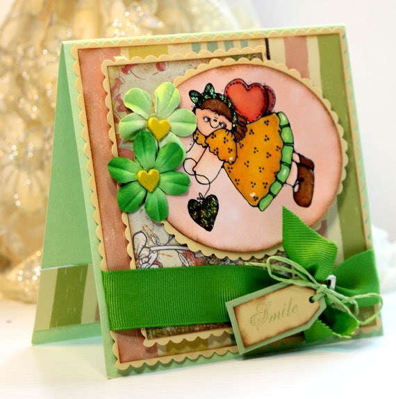 Handmade Card - Greeting Card - Smile -  Thinking of You - OOAK