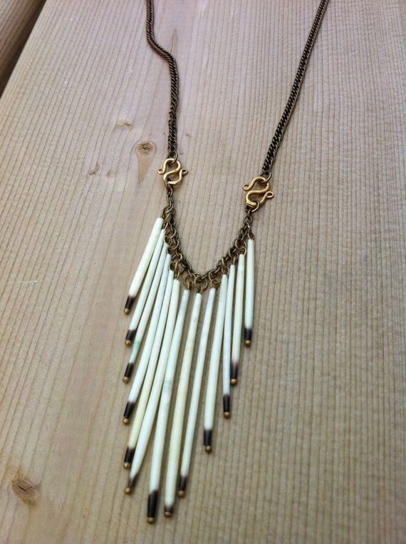 Dangling Fringe Porcupine Quill Necklace