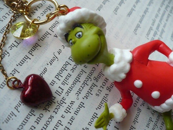 Dr. Seuss - The Grinch who stole Christmas - The Grinch - Toy - Hanging - Metal - Plastic - Heart - Xmas - Holiday