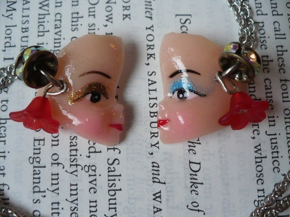 Together we are one - Doll - Face - Friendship - Lovers - Eye shadow - Necklace - Jewelry - Vintage