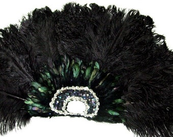 Black FEATHER Dance FAN Las Vegas Showgirl BURLESQUE
