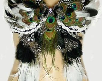 Zena Exotic Native Feather Belly Dance BRA custom Made 4U