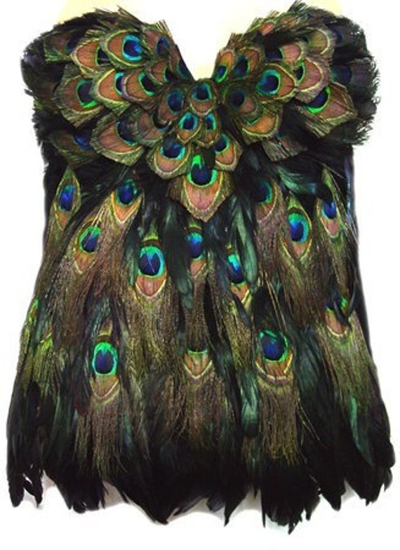 PEACOCK Feather Corset Las Vegas Burlesque Custom Made 4U