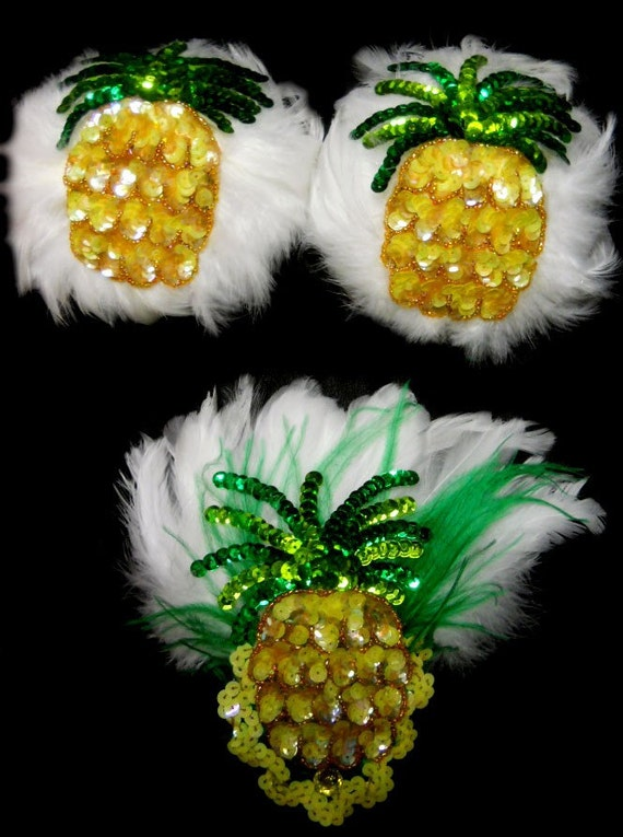 Sexy Hot Pineapple Tropic Las Vegas Showgirl Feather Pasties w/G