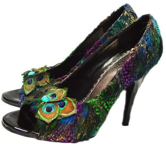 Peacock Feather Shoes Bridal Heels Peek-A-Boo Heels 6.5 CUSTOM ORDER