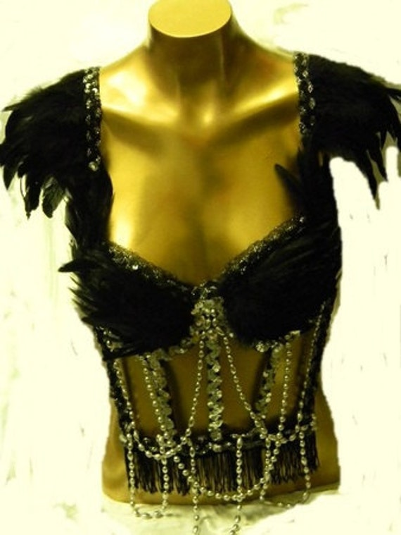 SEXY Raven Beaded Feather Corset  BURLESQUE Custom Made Sz Sm/Med only one