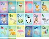 Set of 26 Alphabet Cards - A to Z - Alphabet Wall Art. 5x7 Wall Art - ABC Baby Nursery Children Animal Illustrations Wall Print Poster