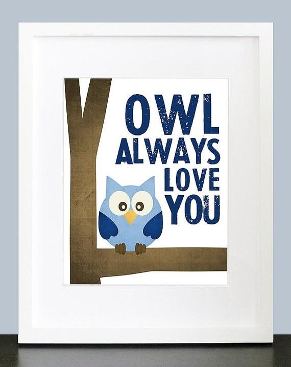 Owl Always Love You Wall Art 8x10 Baby Nursery by mateoandtobias