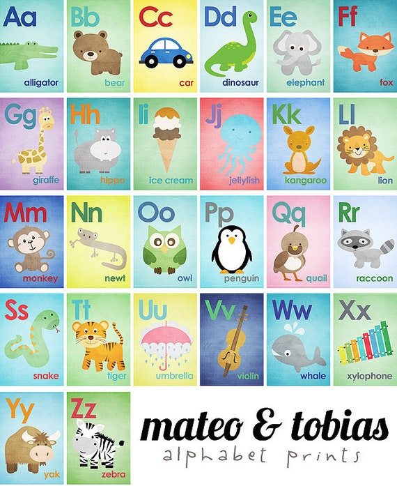 Set of 26 Alphabet Cards - A to Z - Alphabet Wall Art. 5x7 Wall Art - ABC Baby Nursery Children Animal Illustrations Wall Print Poster