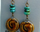 Porcelain Rootbeer Swirl Earrings