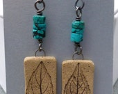 Turquoise and Stoneware Leaf Earrings
