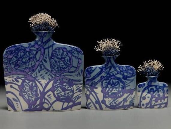 Set of 3 sizes of porcelain slab flower vases