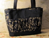 Handbag or Tote Navy Blue  with Custom Design Pockets Good Price, Ready to Ship 40% off use code 40coupon at Checkout