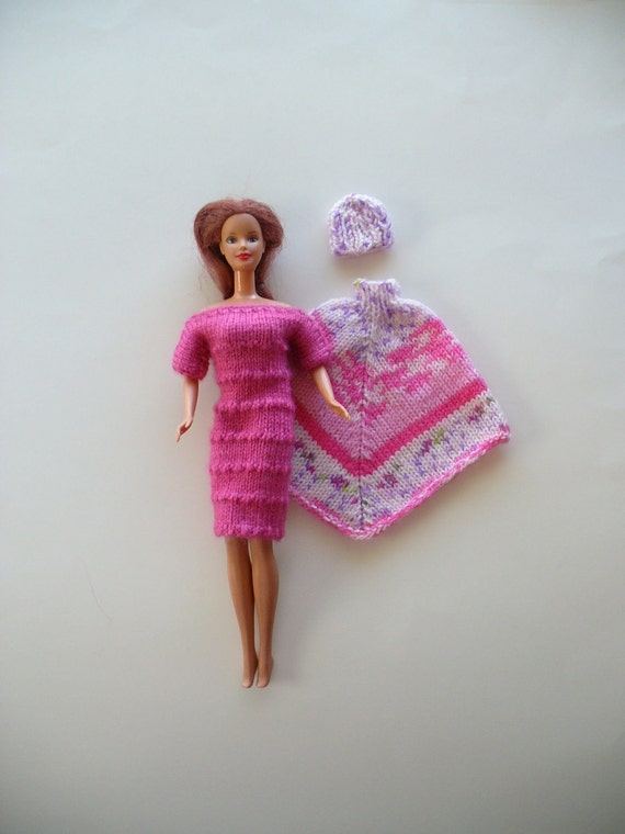 Knit Barbie dress in dusty rose with a varigated poncho and cap to match