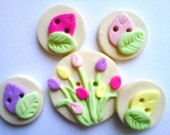 Button Bright Tulips polymer clay button set  ( 5 )