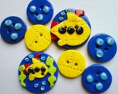 Button Little Yellow Sub handmade polymer clay button set ( 8 )