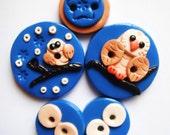 Button Snow Owl         polymer clay button set      ( 5 )