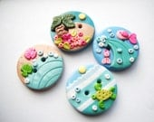 Button Tiny Island handmade polymer clay buttons ( 4 )