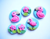 Button Flamingo handmade polymer clay buttons ( 6 )