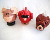 Christmas Ornaments Woodland Friends handmade glass covered polymer clay ornaments ( 3 )