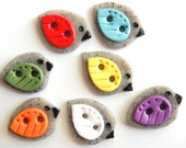 Button Colorful Winged Granite Birds handmade polymer clay buttons ( 6 )