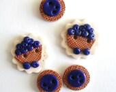 Button Blueberry Basket handmade polymer clay button set ( 5 )