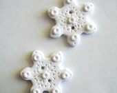 Button Twin Snowflakes handmade polymer clay buttons ( 2 )