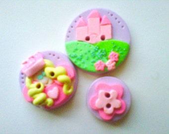 Pincess Castle   polymer clay buttons   ( 3 )