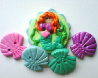 Button Mermaid polymer clay button set  ( 5 )