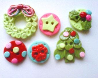 Button Retro Christmas 2 handmade polymer clay buttons   ( 6 )
