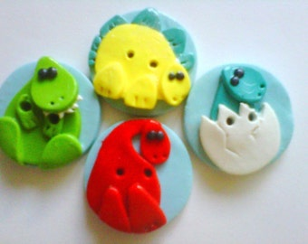 Button Dinos polymer clay buttons  ( 4 )