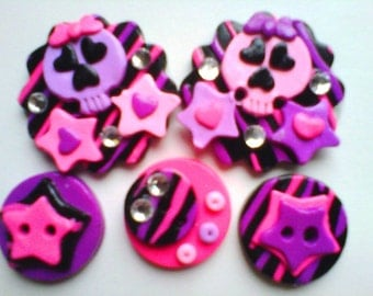 Button Punky Princess polymer clay buttons  ( 5 )