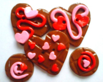 Button Chocolate Hearts polymer clay button set   ( 5 )
