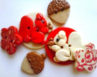Button Little Squirrels handmade polymer clay button set  ( 6 )