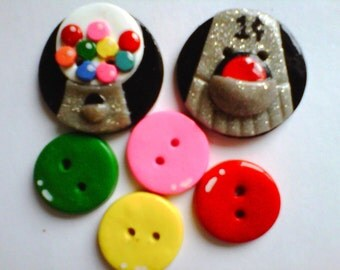 Button Gumball polymer clay buttons   ( 6 )