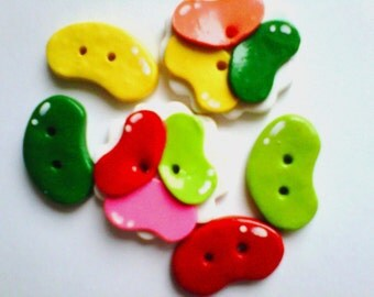 Button Jellybeans polymer clay buttons   ( 6 )