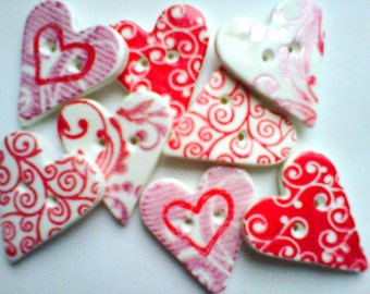 Button Stamped Hearts polymer clay buttons  ( 8 )