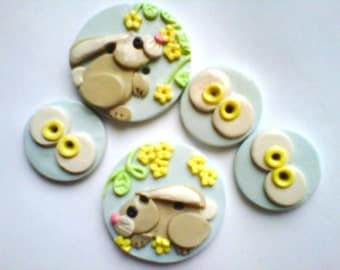 Button Spring Bunny handmade polymer clay button set ( 5 )